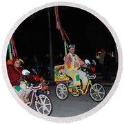 Clowns On Bikes Round Beach Towel