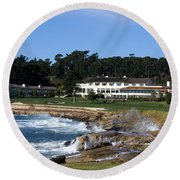 Clubhouse At Pebble Beach Round Beach Towel