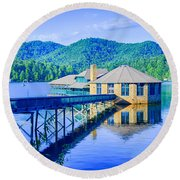 Clubhouse On Lake Tahoma Round Beach Towel