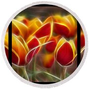 Cluisiana Tulips Triptych  Round Beach Towel by Peter Piatt