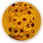 Cluster Of Yellow Blooms Round Beach Towel