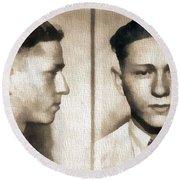 Clyde Barrow Mug Shot Round Beach Towel