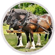 Clydesdale Horses Round Beach Towel