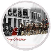 Clydesdale  Team Christmas Card Round Beach Towel