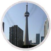 C N Tower Toronto Round Beach Towel