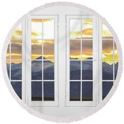 Co Mountain Gold View Out An Old White Double 16 Pane White Window Round Beach Towel