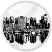 Vancouver Canada Coal Harbour Centre Panel Round Beach Towel