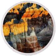 Coal Mine Canyon Aglow Round Beach Towel