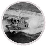 Coast Gaurd In Action In Black And White Round Beach Towel