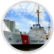 Coast Guard Cutter Taney Round Beach Towel