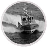 Coast Guard In Black And White Round Beach Towel