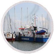 Coast Guard Maasholm Harbor Round Beach Towel