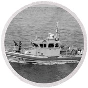 Coast Guard On Patrol In Black And White Round Beach Towel