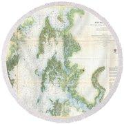 Coast Survey Chart Or Map Of The Chesapeake Bay Round Beach Towel