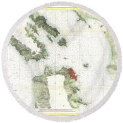 Coast Survey Map Of San Francisco Bay And City Round Beach Towel