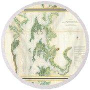 Coast Survey Map Of The Chesapeake Bay  Round Beach Towel