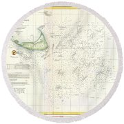 Coast Survey Nautical Chart Or Map Of Nantucket Massachusetts Round Beach Towel