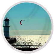 Coast To Coast Sea To Sky Flies Curiosity Crescent Kite Night Scenes On The Canal Carole Spandau Round Beach Towel