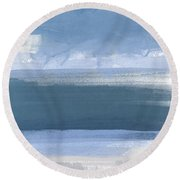 Coastal- Abstract Landscape Painting Round Beach Towel