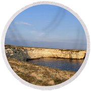 Coastal Area On Crimea Ukraine. Round Beach Towel