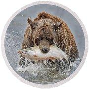Coastal Brown Bear With Salmon IIi Round Beach Towel