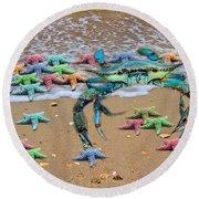 Coastal Crab Collection Round Beach Towel