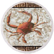 Coastal Crab Decorative Painting Greek Border Design By Madart Studios Round Beach Towel