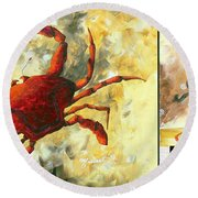 Coastal Crab Decorative Painting Original Art Coastal Luxe Crab By Madart Round Beach Towel