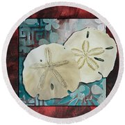 Coastal Decorative Shell Art Original Painting Sand Dollars Asian Influence I By Megan Duncanson Round Beach Towel