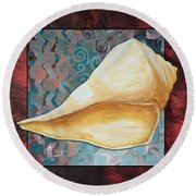 Coastal Decorative Shell Art Original Painting Sand Dollars Asian Influence II By Megan Duncanson Round Beach Towel