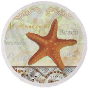 Coastal Decorative Starfish Painting Decorative Art By Megan Duncanson Round Beach Towel