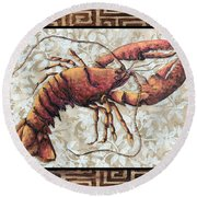 Coastal Lobster Decorative Painting Greek Border Design By Madart Studios Round Beach Towel
