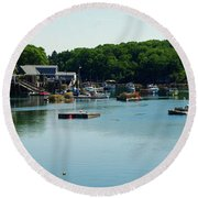 Coastal Maine Bay Round Beach Towel