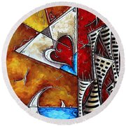 Coastal Martini Cityscape Contemporary Art Original Painting Heart Of A Martini By Madart Round Beach Towel