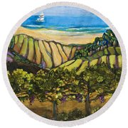 California Coastal Vineyards And Sail Boat Round Beach Towel