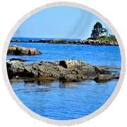 Coastal Route 1 In Maine Round Beach Towel