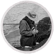 Coastal Salmon Fishing Round Beach Towel