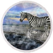 Coastal Stripes I Round Beach Towel by Betsy Knapp