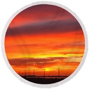 Coastal Sunset Round Beach Towel
