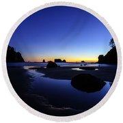 Coastal Sunset Skies Reflection Round Beach Towel
