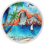 Coastal Tropical Beach Art Contemporary Painting Whimsical Design Tropical Vacation By Madart Round Beach Towel