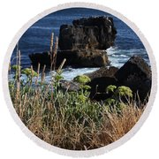 Coastal View From Cascais  Round Beach Towel