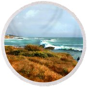 Coastal Waves Roll In To Shore Round Beach Towel