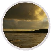 Coastal Winters Afternoon 2 Round Beach Towel by Amy-Elizabeth Toomey