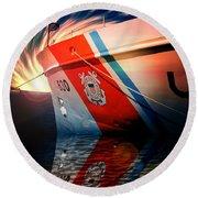 Coast Guard Uscg Alert Wmec-630 Round Beach Towel by Aaron Berg