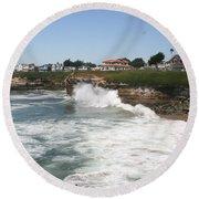 Coastline  Santa Cruz -  California Round Beach Towel