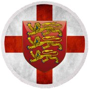 Coat Of Arms And Flag Of England Round Beach Towel