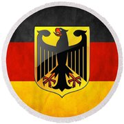 Coat Of Arms And Flag Of Germany Round Beach Towel