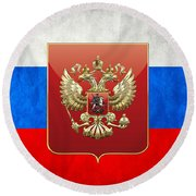 Coat Of Arms And Flag Of Russia Round Beach Towel