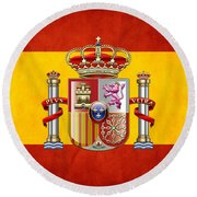 Coat Of Arms And Flag Of Spain Round Beach Towel